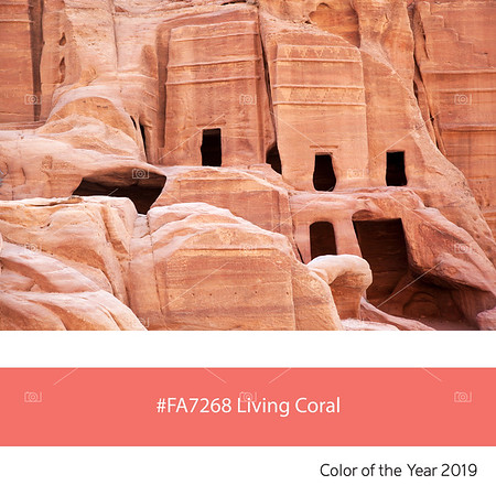 Living Coral  Color of the Year, cave dwellings of Petra