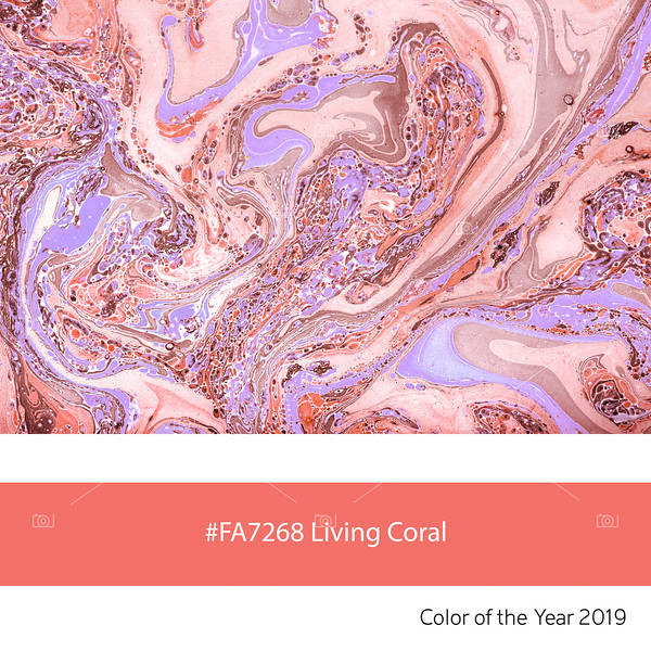 Living Coral  Color of the Year, Marbled Paper