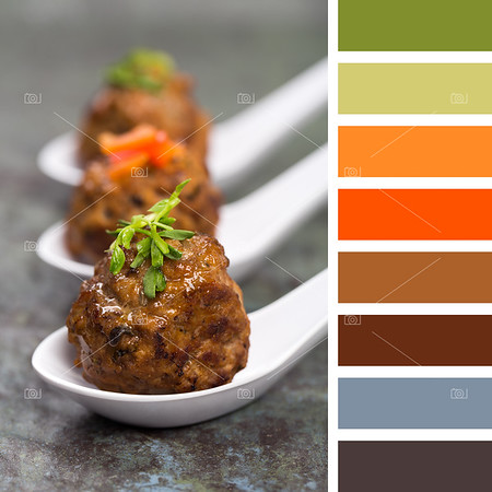 Asian meatballs in spoons palette