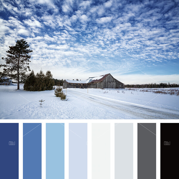 Barn in snow palette