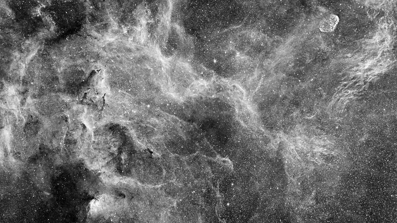 The Tulip (SH2-101) and the Crescent Nebulae - in Cygnus Hydrogen Alpha Narrowband Luminance Image
