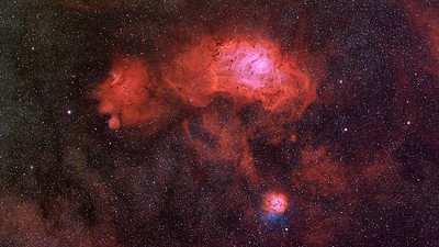 M8 - M20 - The Trifid and the Lagoon Nebulae Full Spectrum Image