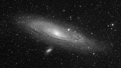 The Andromeda Galaxy Black and White Luminance Image