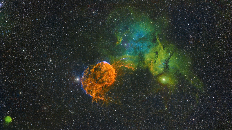 IC-443 - The Jellyfish (Atomic Bomb) Nebula Narrowband Hubble Palette Image