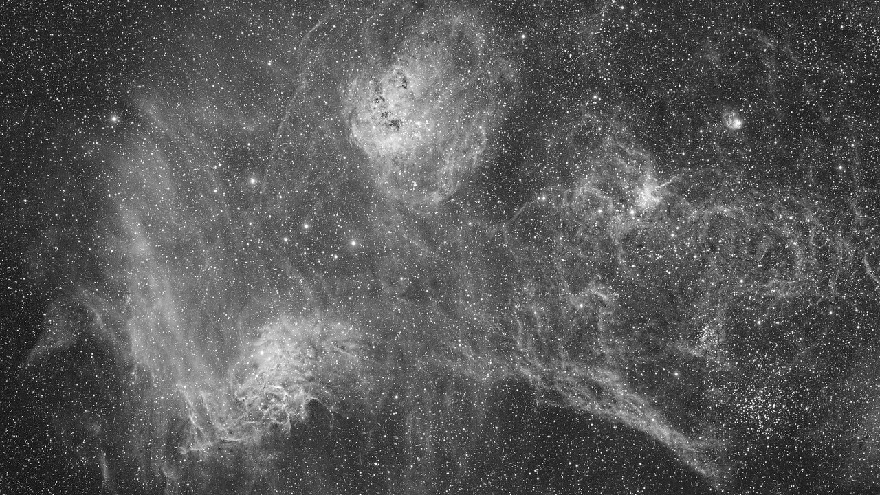 "he Flaming Star Nebula (IC 405), The ""Tadpole"" Nebula (IC 410) The Spider and The Fly Nebulae (IC 417 and NGC 1931) In Auriga - Black and White Hydrogen Alpha Image"