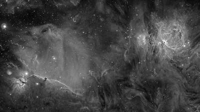 The Orion Nebula, Horse Head Nebula, Flame Nebula and Running Man Nebula Hydrogen Alpha Luminance