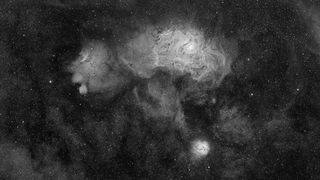 M8 - M20 - The Trifid and the Lagoon Nebulae Hydrogen Alpha Narrowband Image