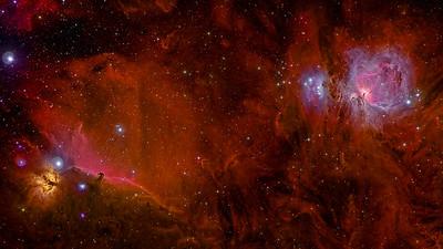 The Orion Nebula, Horse Head Nebula, Flame Nebula and Running Man Nebula Full Spectrum