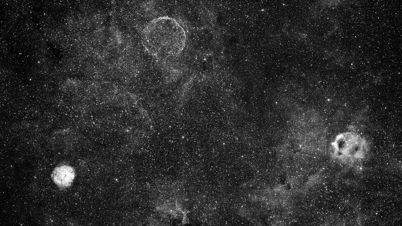 Ouroboros Supernova Remnant - CTB1 - in Cassiopeia Hydrogen Alpha Narrowband Luminance Image