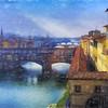 Arno River & Ponte Vecchio Bridge, Florence, Italy
