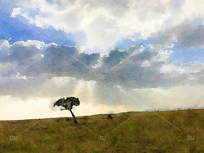 Lone tree digital watercolour