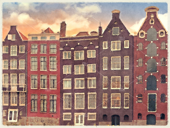 Amsterdam Merchant Houses Watercolour