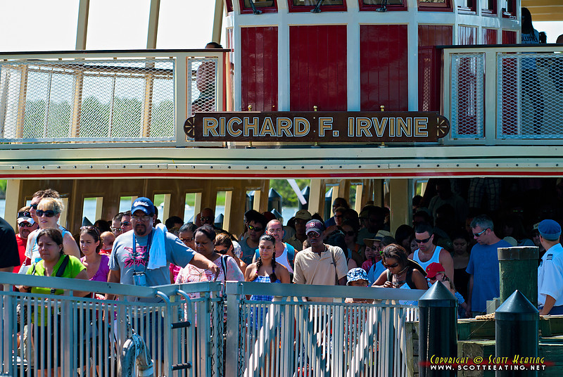 July 29 crowd leaving the Richard F Irvine for The Magic Kingdom. In contrast, I was the only passenger on the ferry going back!