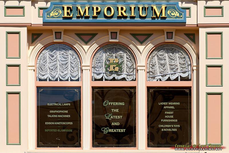 "Window and signs on the ""Emporium"" on Main Street - The Magic Kingdom, Disney World"
