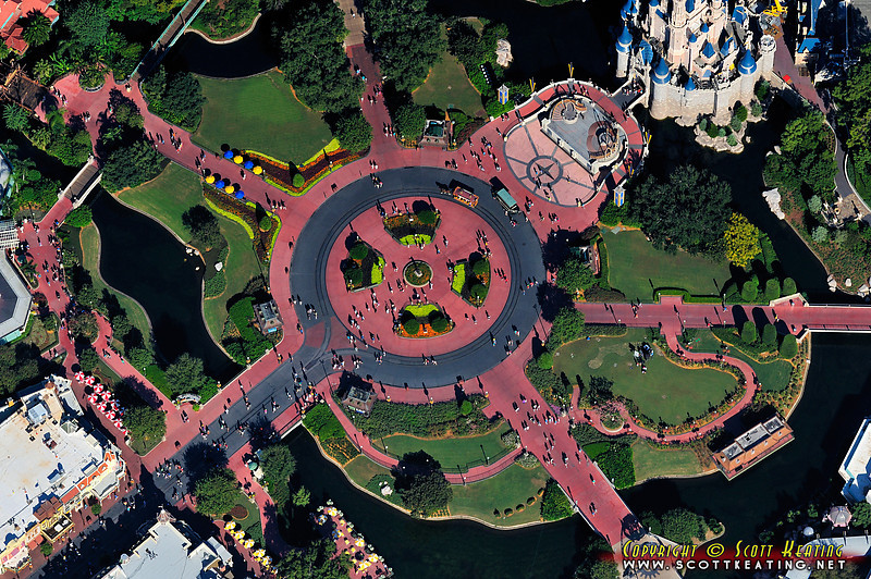 """Aerial of the Magic Kingdom's """"hub"""" area, 40 years + 1 day after first opening"""