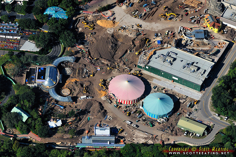 Fantasyland expansion site, eastern side - Storybook Circus and new Flying Dumbo attraction on left. The new train stop at the bottom-center. October 2011