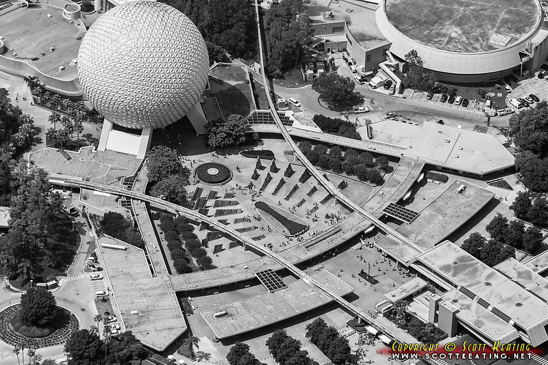 Front entrance to EPCOT and Space Ship Earth