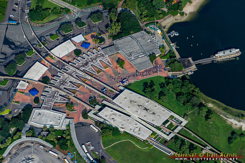 The Ticket and Transportation Center at Walt Disney World - location of the main ticketing for The Magic Kingdom, with transportation to The Magic Kingdom via Ferry and Monorail. The Monorail also serves the Magic Kingdom area resorts and EPCOT.o