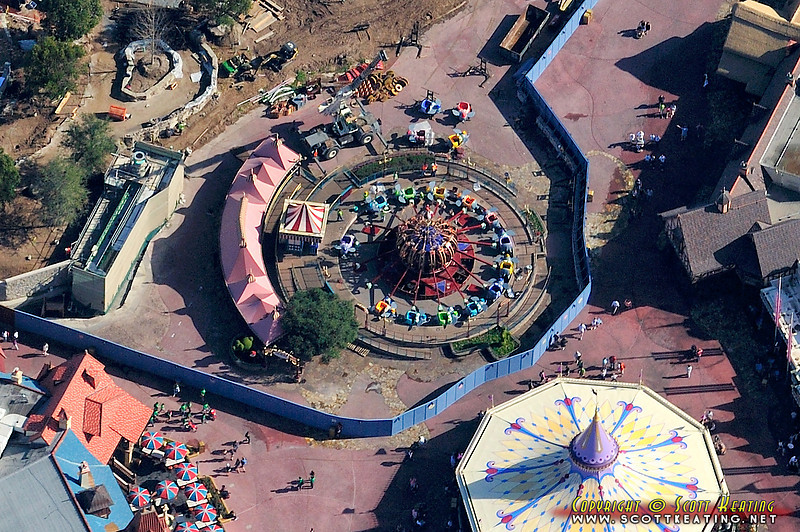 """Fantasyland Expansion/Construction at The Magic Kingdom - Jan 12 2012 - original """"Dumbo"""" ride, closed and being dismantled for relocation"""