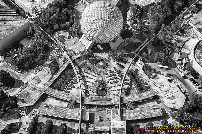 Epcot and Space Ship Earth, front-entrance during the Flower & Garden Festival 2012. B&W/HDR
