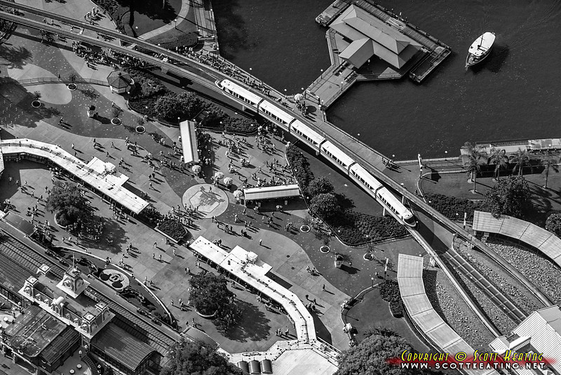 A monorail passes the entrance to The Magic Kingdom - Walt Disney World, Orlando, Florida