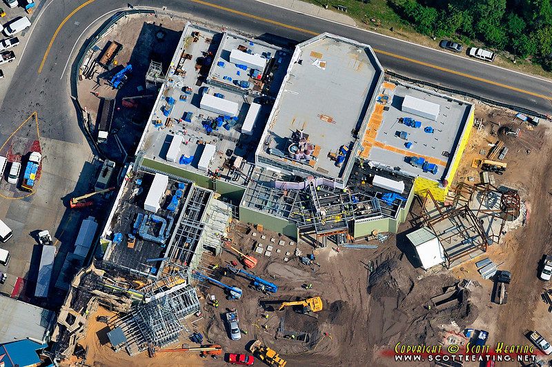 """Aerial view of part of the recently added """"Beast's Castle"""" in the Fantasyland Expansion project at the Magic Kingdom"""