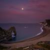 Durdle Door at Dawn with full Moon
