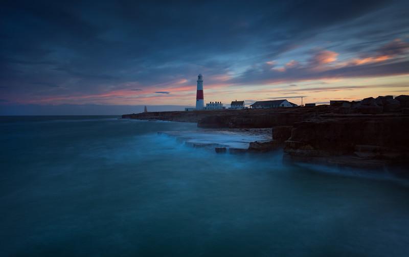 Portland Bill Lighthouse at dusk