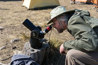 One of our camping neighbors brought a small telescope and very kindly shared it. Here James is having a look. Taken in the Sawtooth National Recreation Area, Idaho, USA.