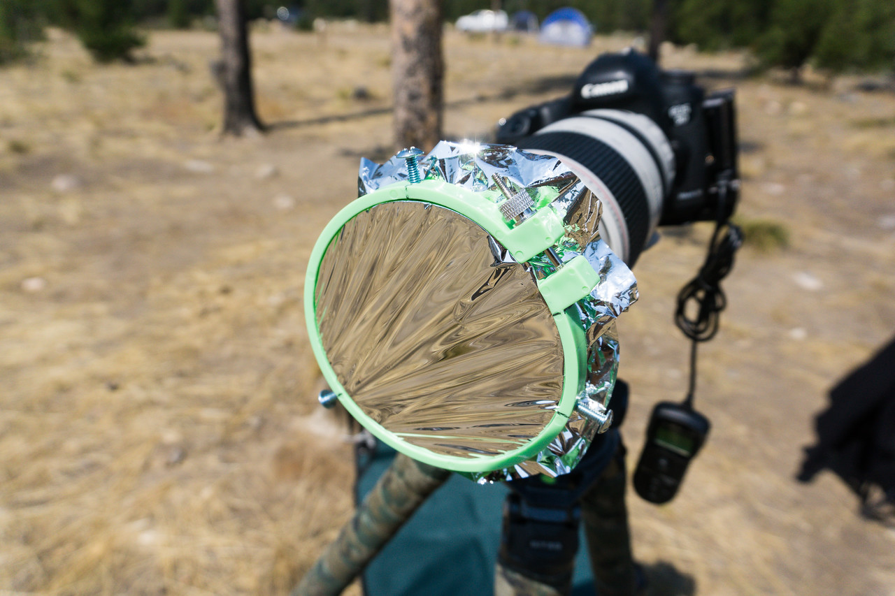 My second homemade solar filter mounted on the 100-400 lens on my Canon 5D Mark III. You can also see the remote release hanging from the camera. Taken in the Sawtooth National Recreation Area, Idaho, USA.