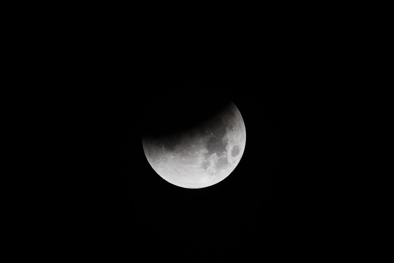 The partially eclipsed moon during the total lunar eclipse of January 31, 2018. Taken at Standard Wash BLM area, south of Lake Havasu City, Arizona, USA.