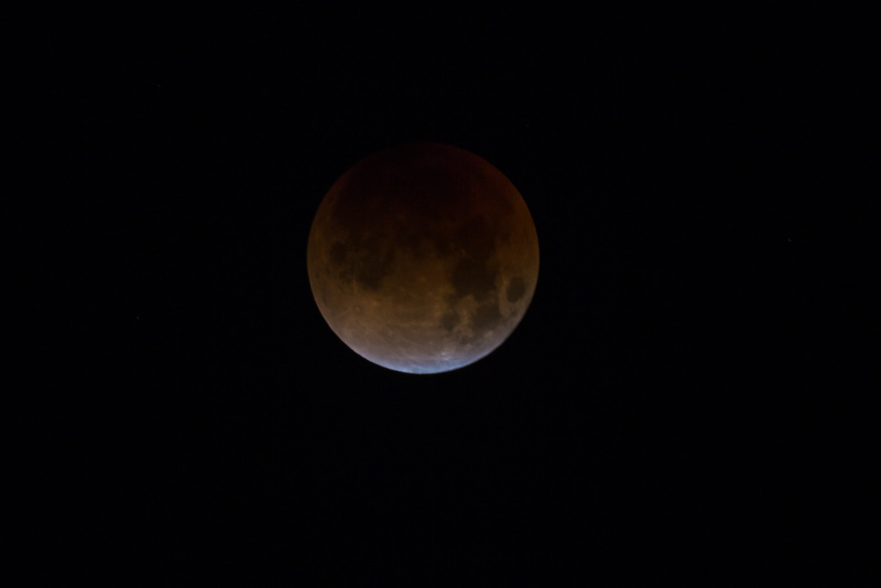 The moon during the total lunar eclipse of January 31, 2018. Taken at Standard Wash BLM area, south of Lake Havasu City, Arizona, USA.