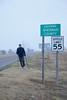After leaving Kanorado, Kansas, Ron walks along the old Highway 24.