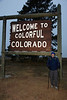 Ron at the border of Colorado. It was not quite so colorful on this gray morning.