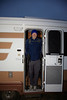 Ron emerges from Footloose, my RV, at 7 am, about to begin his walk.