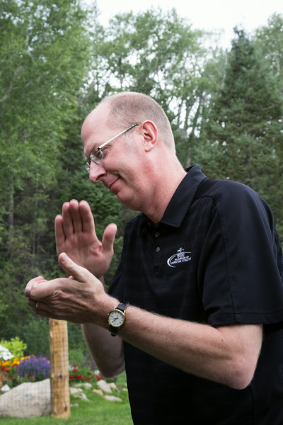 Jay Forseth gives a hand in recognition of people's sacrifices. Taken at the Forseth-Rozendal Family Reunion, Nathrop, Colorado, USA.