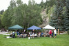 People gather under the shaded popups in preparation for Jay Forseth's message. Taken at the Forseth-Rozendal Family Reunion, Nathrop, Colorado, USA.
