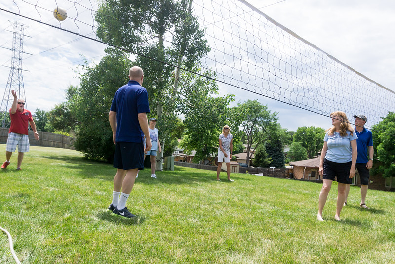 We had a rousing volleyball match, with five of us siblings playing on one side (and outlaw Mark Hickethier serving the ball in this photo). Thanks to James Hager for taking all of the volleyball photos!
