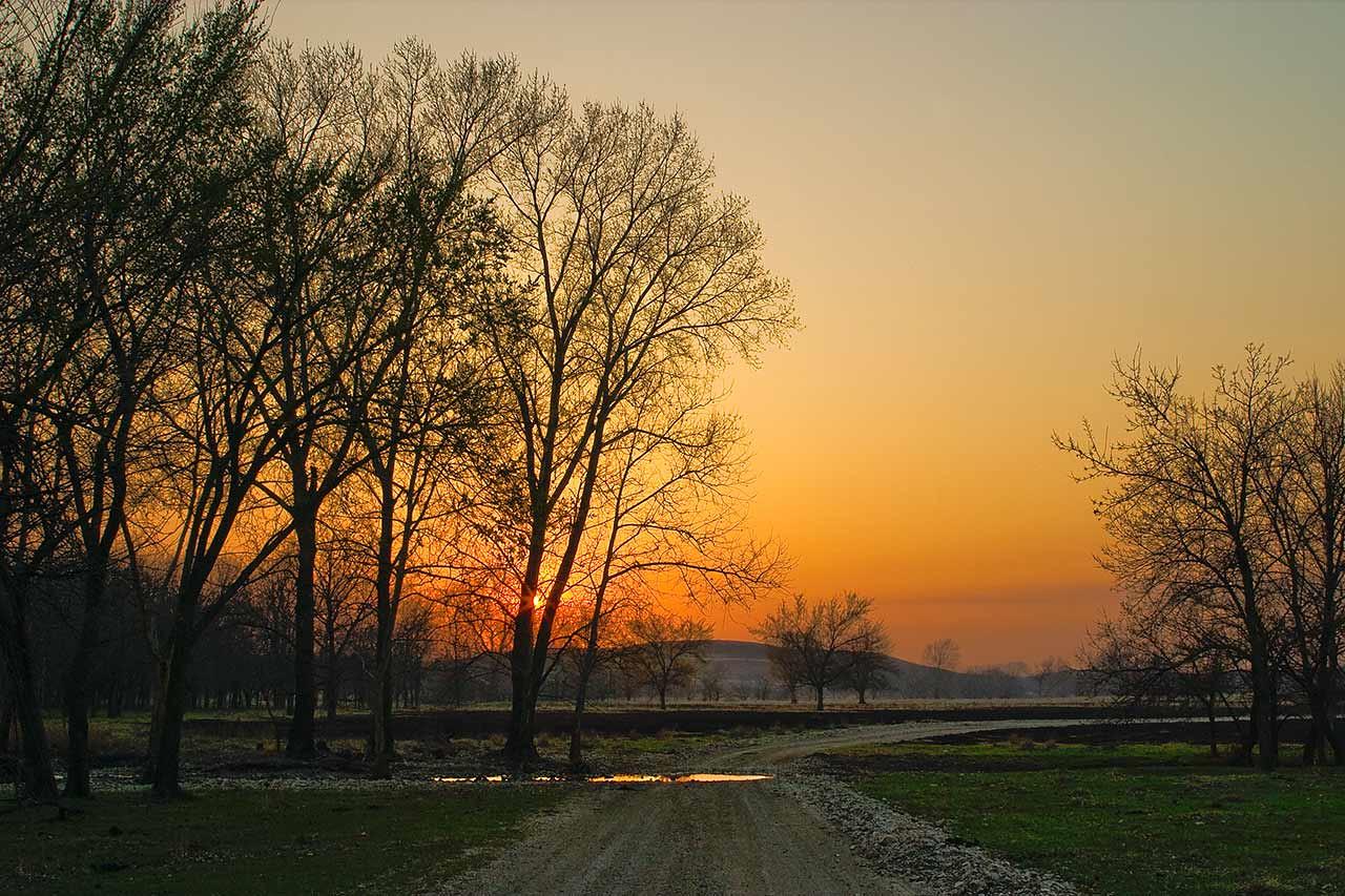 Flint Hills Creek at Sunset