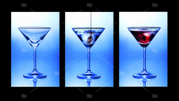 Cocktail triptych. Three glasses showing stages of pouring a cocktail.