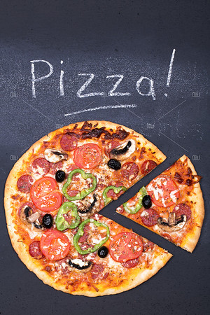 Pizza on chalkboard