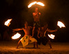 Fire dance at Le Ficus – ...with Sylvain atop the pyramid.
