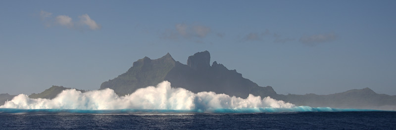 Surf breaking on the reef outside the Bora Bora lagoon