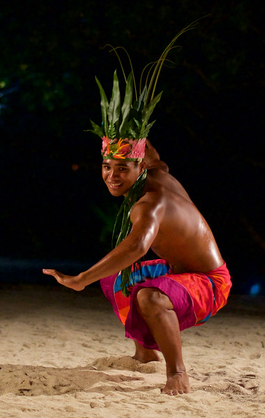 From Le Restaurant Le Ficus on the island of Taha'a – after-dinner performance of traditional Polynesian dancing, including a fire dance