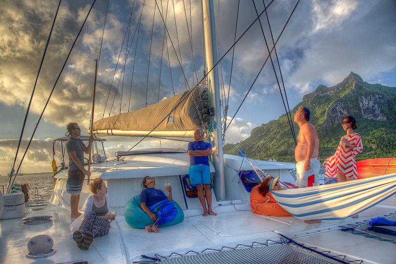 Sylvain, Faithie, Priyani, Deepal, Lily (in the hammock), Wayne, and Susan – with Nathalie (busy in the galley preparing dinner), congenial traveling companions for the week