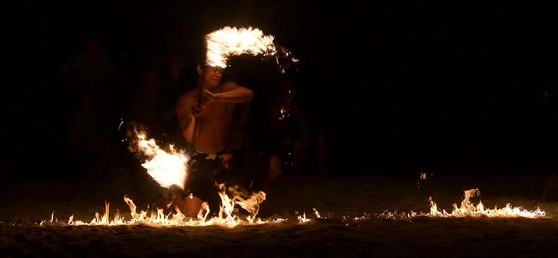 Fire dance at Le Restaurant Le Ficus