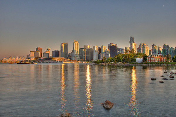 The City of Vancouver BC as seen from Stanley Park at Sunset. 7 exposures combined to create this image in Photomatix Pro software.
