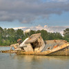 Fishing Boat relic on the Fraser River, Richmond BC. Shot taken at mid tide