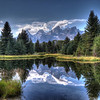 Scene of the Grand Tetons, taken from Schwabaker pond, near Jackson Hole Wyoming. Image processed in Photomatix Pro with a Paintbrush texture.