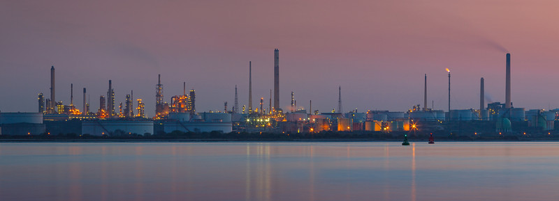 Fawley Refinery at dusk, Hampshire